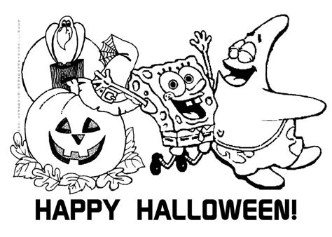spongebob and patrick happy halloween coloring pages halloween