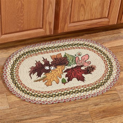 fall rugs autumn leaves braided oval rug