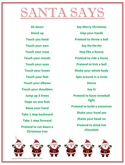 diy christmas party games for groups santa says for free printable the resourceful