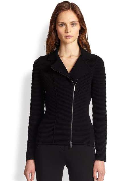 womens knit moto jacket armani rib knit moto jacket in black lyst