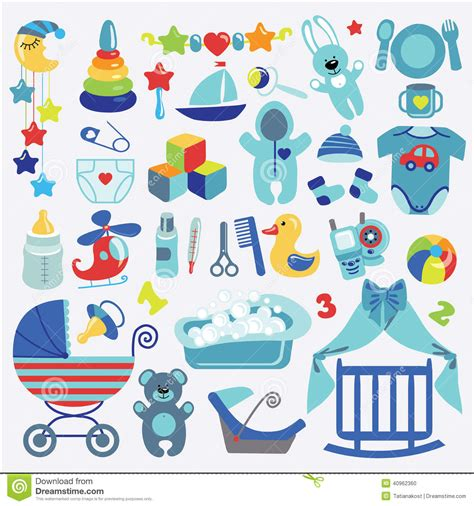 Cle1256 Piyama Baby Motif Boys New Born newborn baby boyl items set collection baby shower stock illustration image 40962360