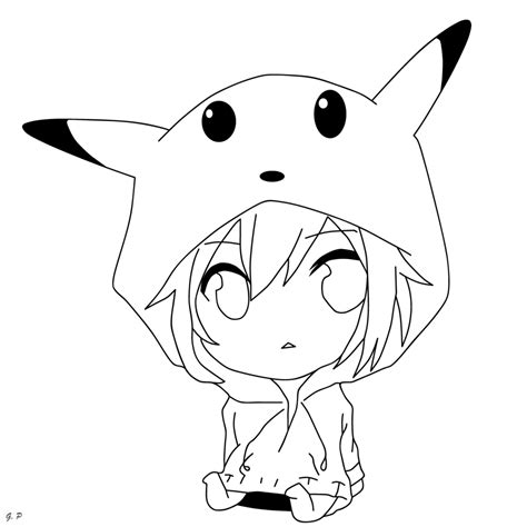 chibi pikachu coloring page chibi pikachu girl outline by geoffery10 on deviantart