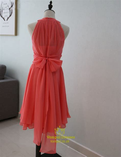 Sleeveless A Line Chiffon Dress coral a line sleeveless chiffon bridesmaid dress