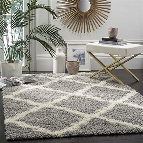 discount area rugs dallas safavieh dallas shag collection sgd257g grey and ivory area rug 6 by 9 6 x 9