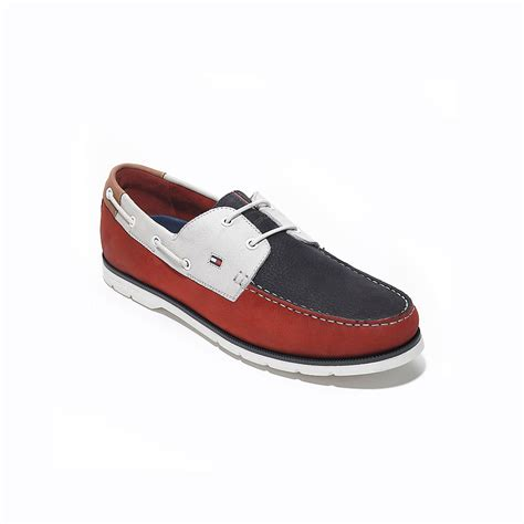 tommy hilfiger colorblock leather boat shoe  blue tango