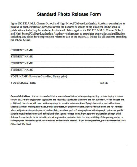 standard photo release form template patient release form template