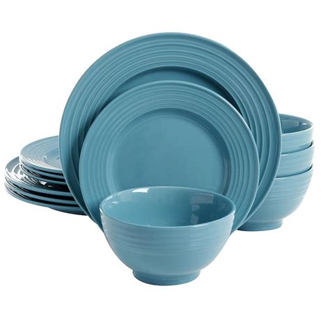 teal dinnerware gibson home plaza cafe 12 teal dinnerware set 98599932m the home depot