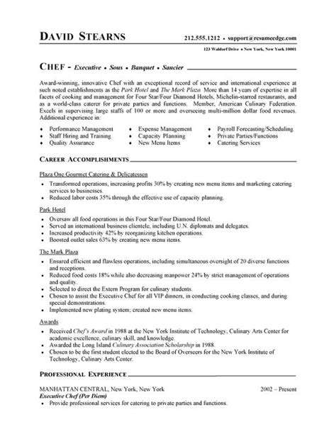 Experience Letter Chef Professional Resume Cover Letter Sle Chef Resume Free Sle Culinary Resume Be