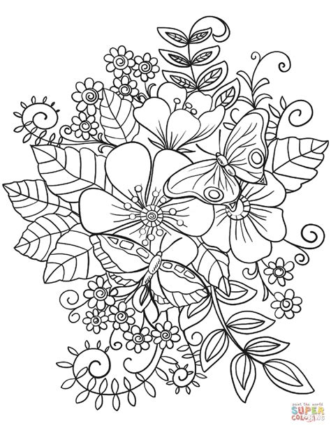 coloring pages of butterflies and flowers free coloring pages flowers and butterflies