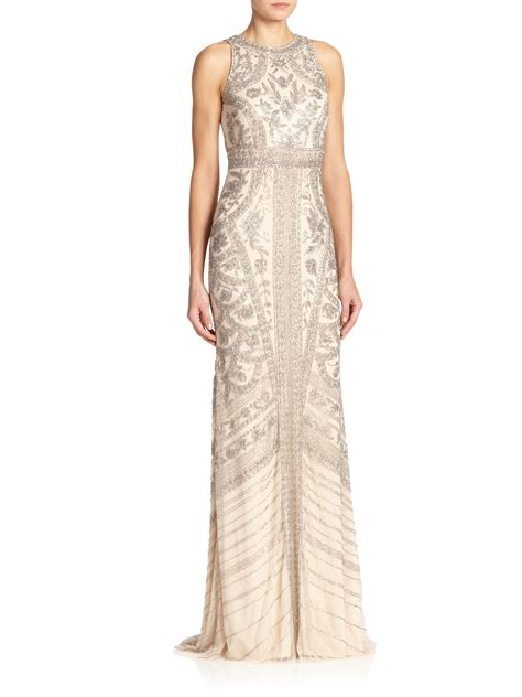 silver beaded gown lyst theia beaded halter gown in metallic