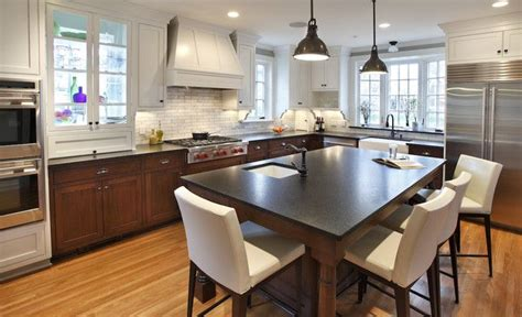 kitchen island instead of table furnish the island like a dining table instead of using