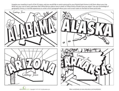 printable state postcards vintage state postcards coloring pages education com