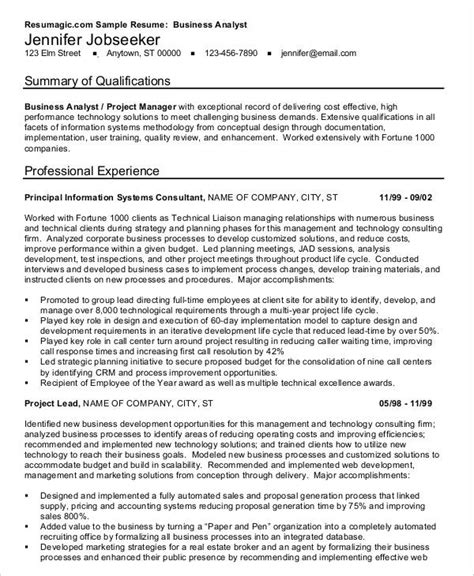 Professional Resume Sles Pdf by Business Analyst Resume Sles 28 Images Business