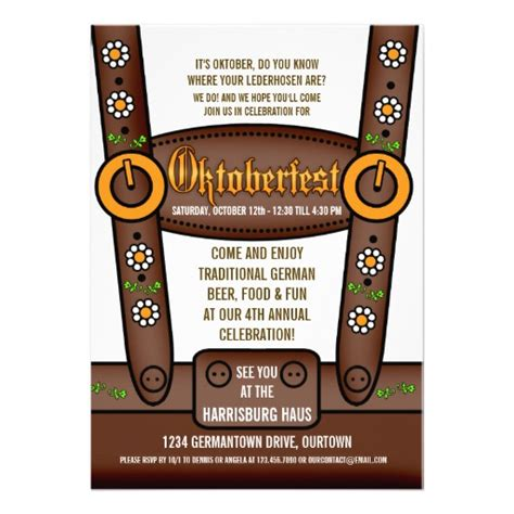 funny lederhosen oktoberfest party invitations 5 quot x 7
