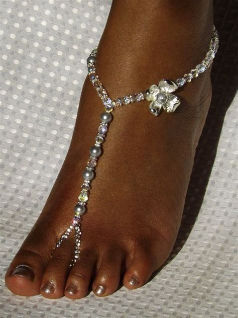 pearl foot jewelry bridal flower barefoot sandal anklet
