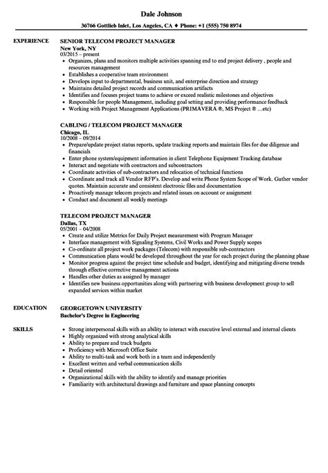 telecom project coordinator resume exles sle resume project manager telecommunications images