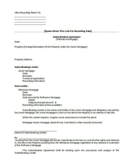 subordination agreement template subordination agreement template subordination agreement