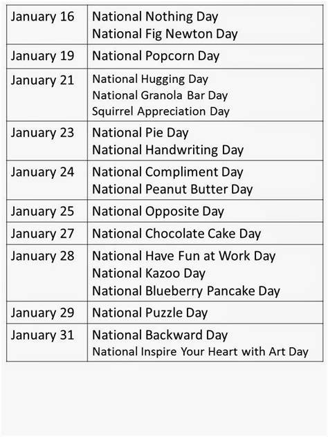 national day teacher treasure hunter january calendar days national