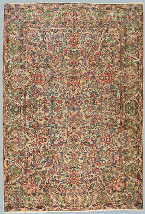 tappeto kirman tappeto persiano kirman antico verde azzurro giallo ocra