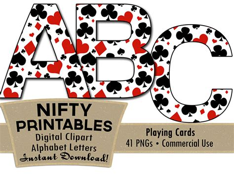 printable alphabet playing cards casino alphabet poker theme nifty printables