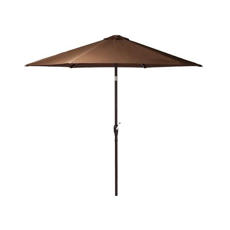 Brown Patio Umbrella Patio Sense Grayton 9 Ft Aluminum Illuminated Market