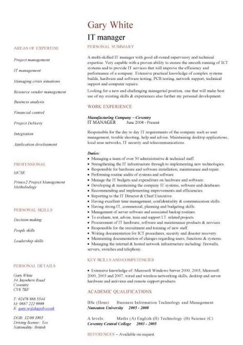 it manager resume format it cv template cv library technology description