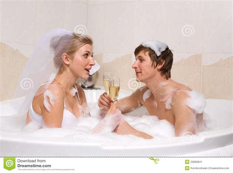 couples in bathroom wedding couple is enjoying a bath stock image image