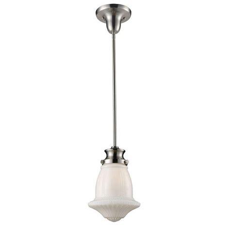titan lighting schoolhouse pendants 1 light satin nickel