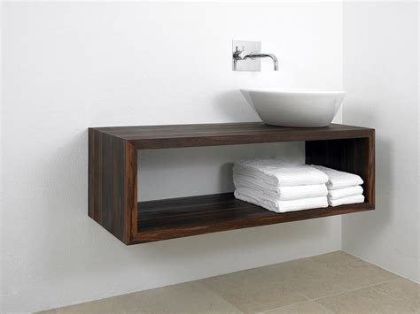 build a floating vanity dark wood console with vessel sink bathroom ideas
