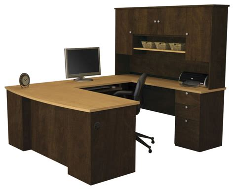 Houzz Office Desk Bestar Manhattan U Shape Executive Desk In Secret Maple And Chocolate Transitional Desks And