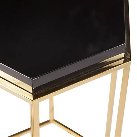 black lacquer end table regency hexagonal black lacquer brass side