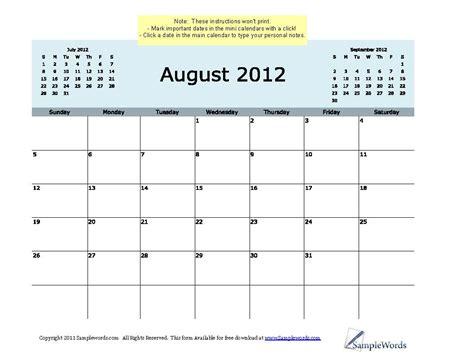 August 2012 Calendar Editable August 2012 Calendar