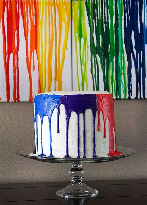 paint drip cake pretty cool holidays parties  pinterest birthday cakes paint