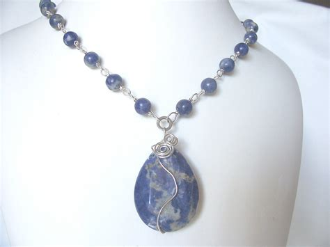 Necklace By blue necklace blue sodalite necklace gemstone by sydemcgus on etsy