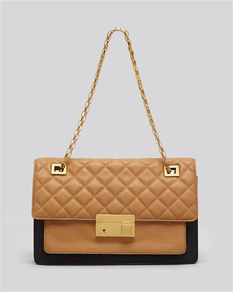 Michael Kors Quilted Handbags by Michael Kors Shoulder Bag Quilted Colorblock In Gold