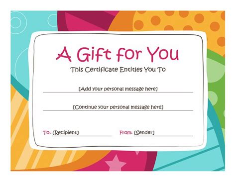 birthday gift certificate template microsoft word birthday gift