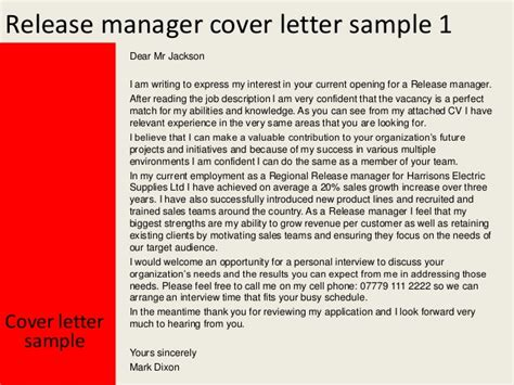 Project Release Letter To Manager Release Manager Cover Letter