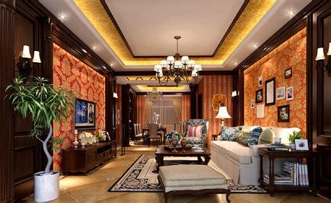 European Indoor wallpaper rendered in the night Interior Design