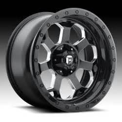 Truck Wheels Custom Fuel Savage D563 Gloss Black Milled Custom Truck Wheels