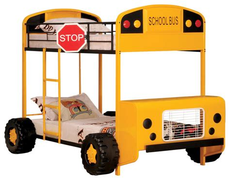school bus bed acme furniture cathie twin over twin bunk bed yellow