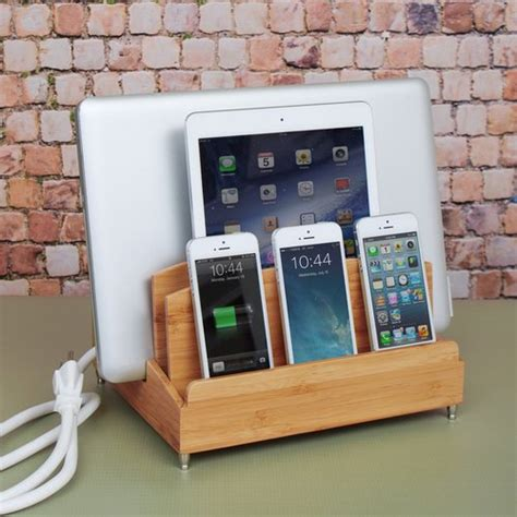 smartphone charging station bamboo multi device charging station and cord organizer