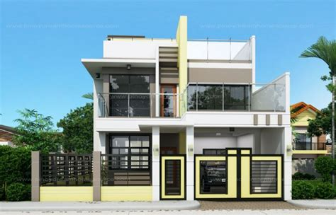 2 storey house with rooftop design prosperito single attached two story house design with roof deck mhd 2016023