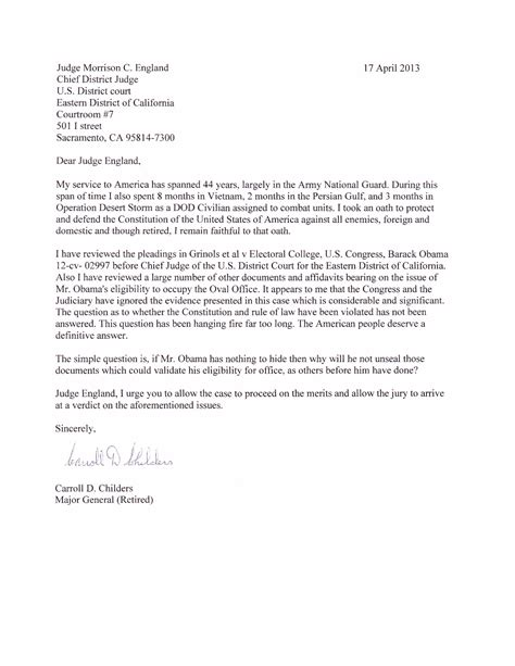 Judicial Release Letter To Judge Press Release From Offices Of Attorney Taitz Letter From Major General Childers To Judge