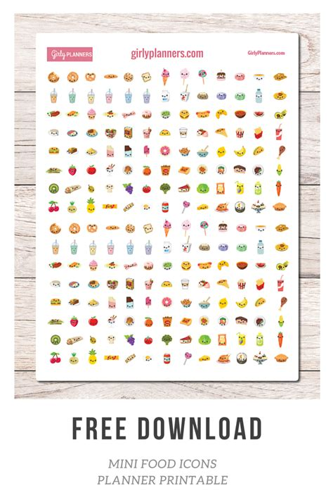 free printable journal stickers free printable mini food icon planner stickers girly