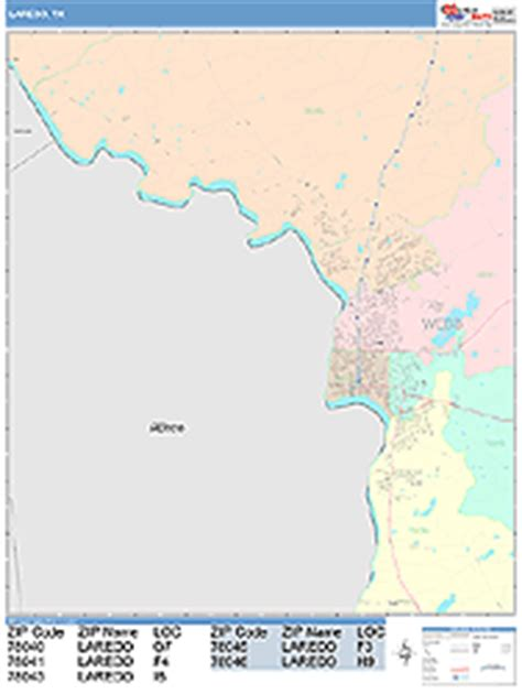 laredo texas zip code map laredo texas wall map color cast style by marketmaps