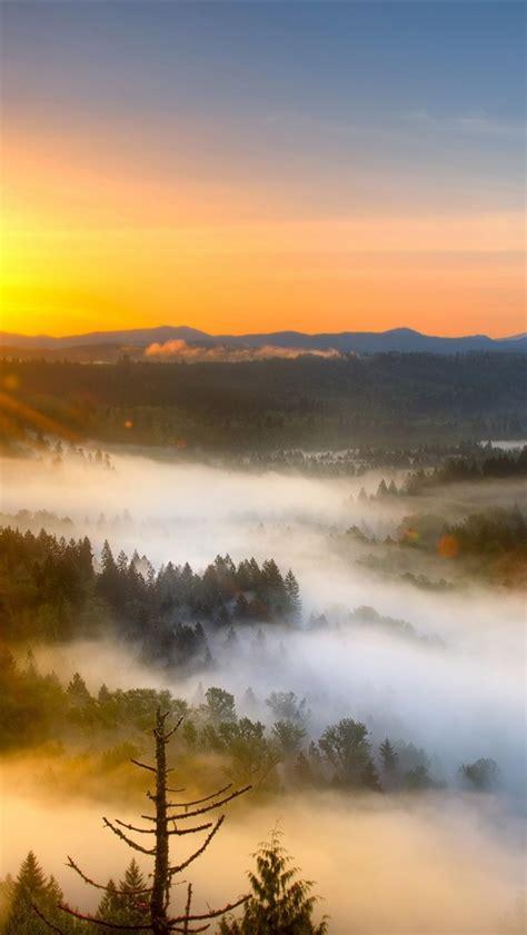 wallpaper morning mist mountain sunrise  hd