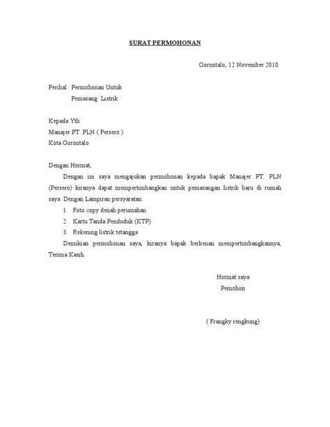 surat  pemasangan listrik
