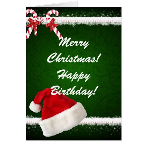 Merry And Happy Birthday Wishes Merry Christmas Happy Birthday Card Zazzle