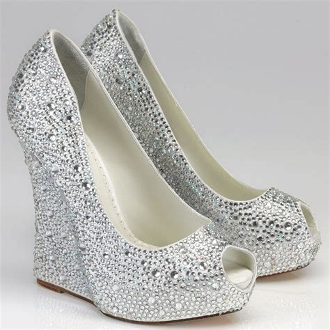 Silver Wedge Wedding Shoes by Silver Rhinestone Wedge Shoes Above Gt Gt Silver Wedge