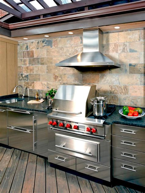 stainless steel outdoor kitchen cabinets 10 outdoor kitchens that sizzle hgtv